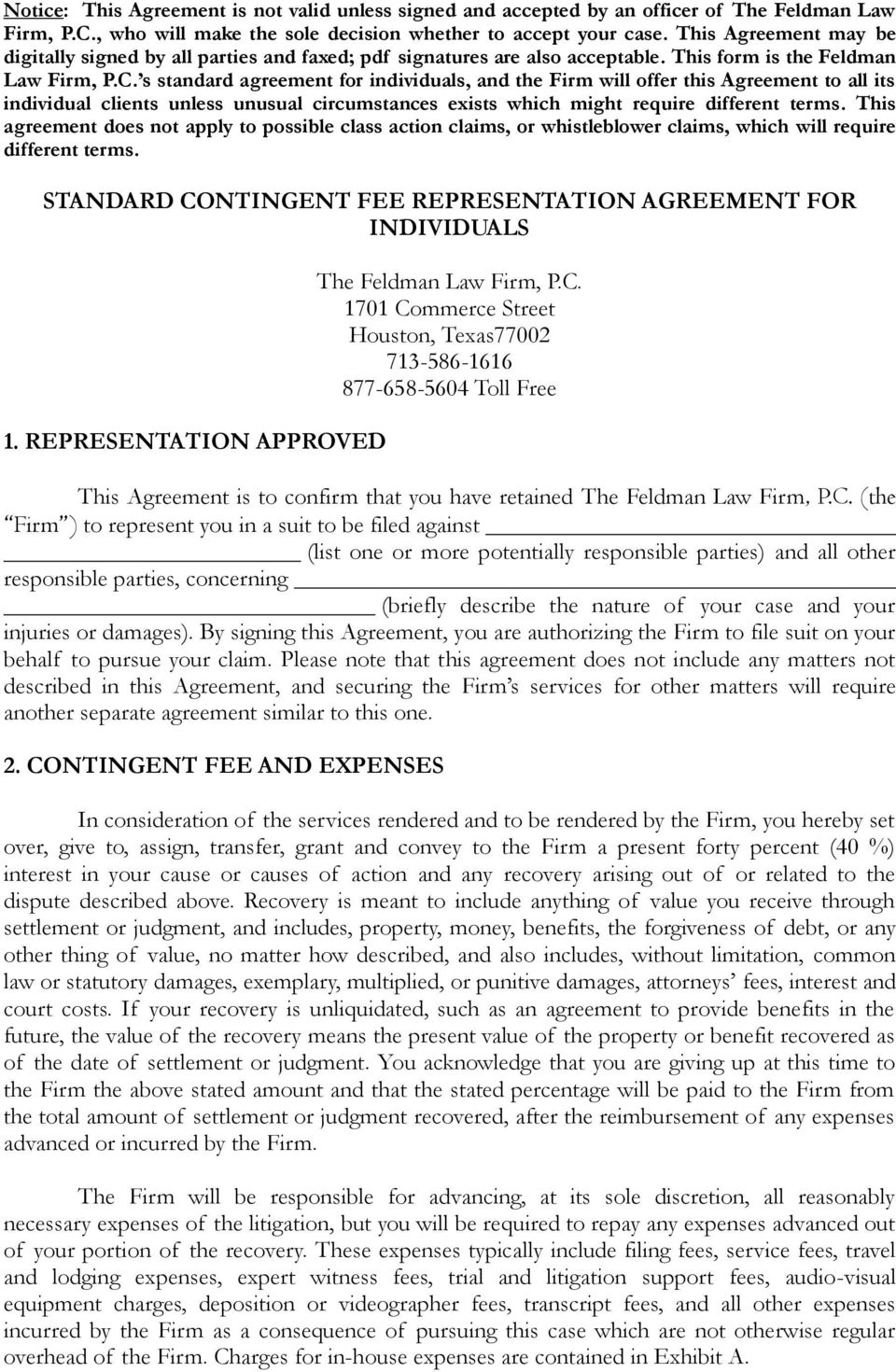 Standard Contingent Fee Representation Agreement For Individuals Pdf