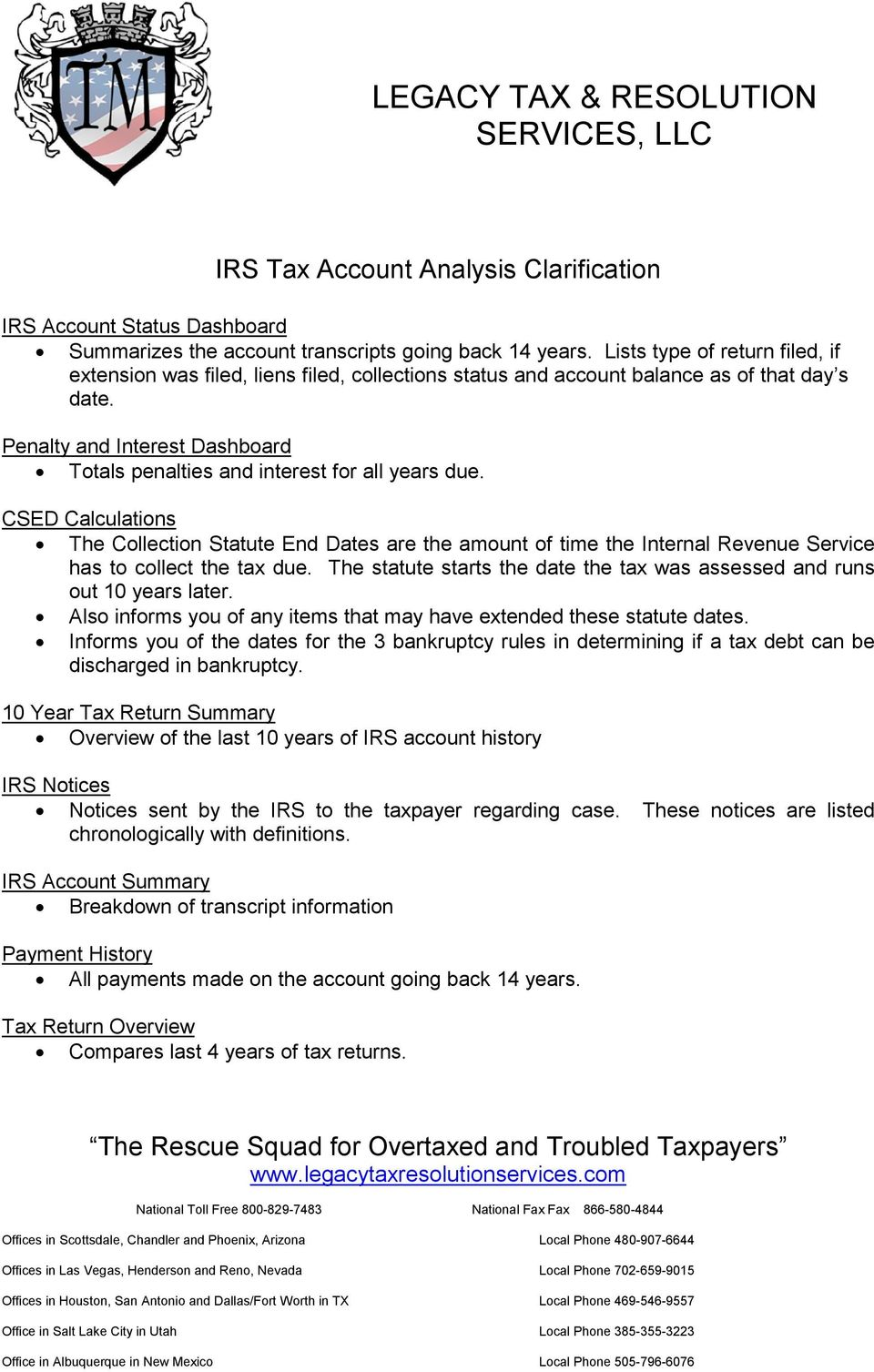 IRS Tax Account Analysis. Legacy Tax & Resolution Services, LLC Fax ...