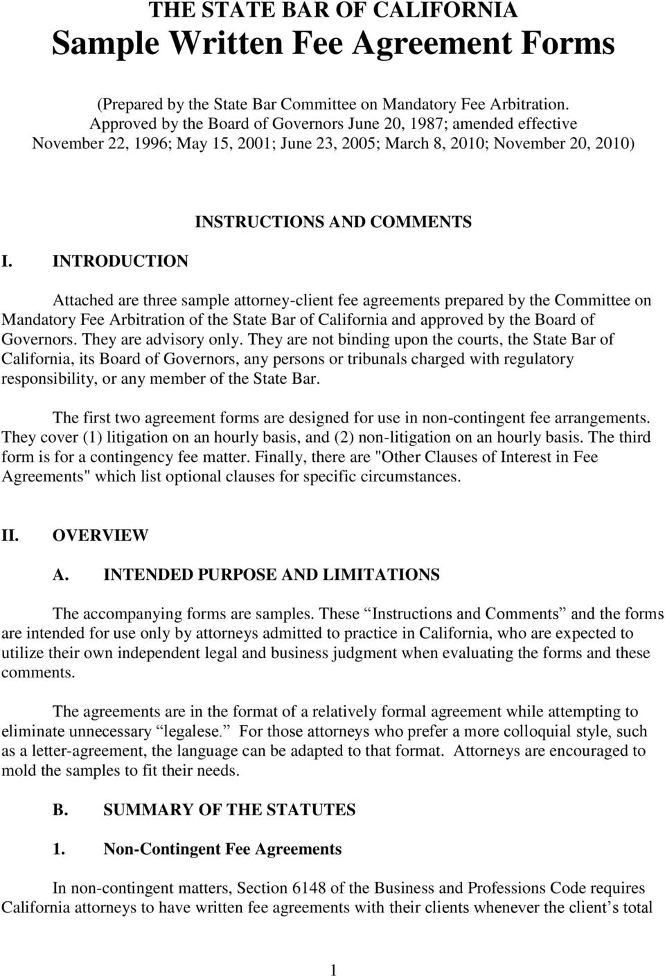 The State Bar Of California Sample Written Fee Agreement
