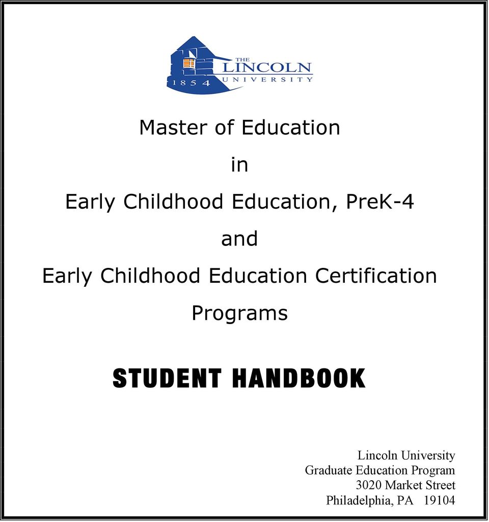Student Handbook Master Of Education In Early Childhood Education
