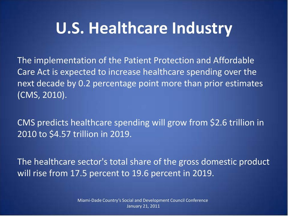 2 percentage point more than prior estimates (CMS, 2010). CMS predicts healthcare spending will grow from $2.