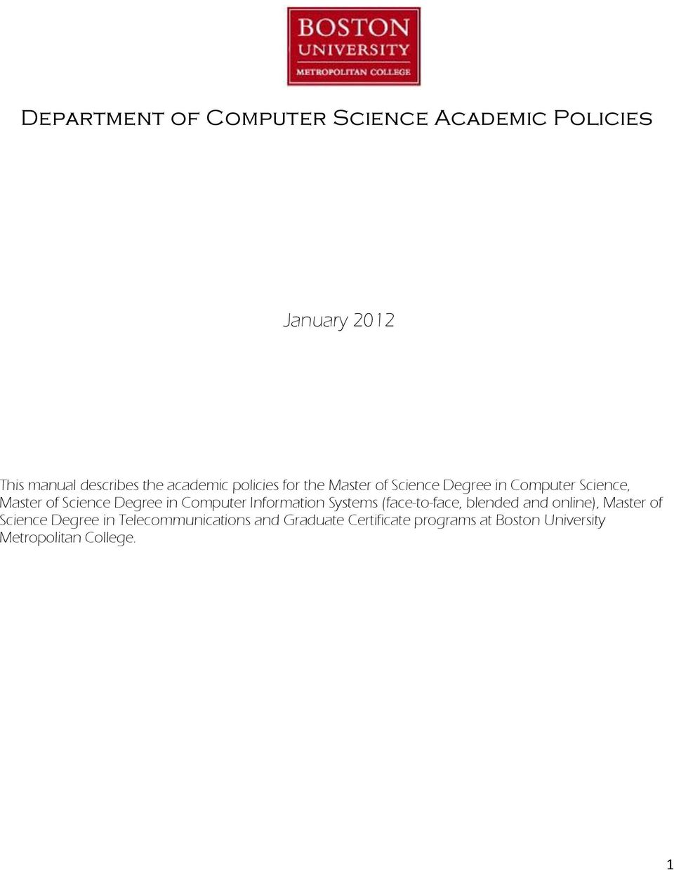 Department of Computer Science Academic Policies - PDF