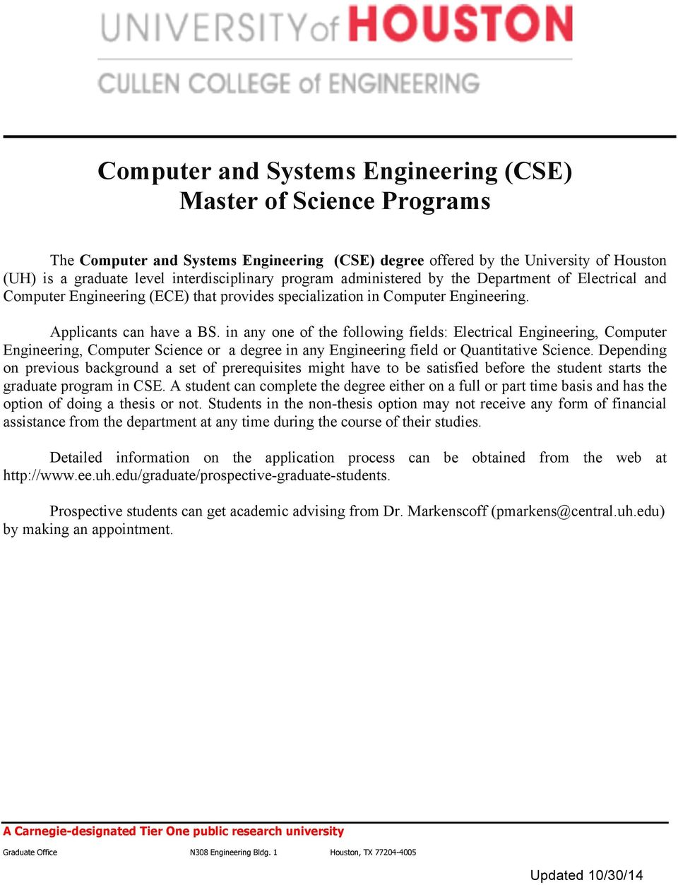 electrical engineering degree plan uh wiring diagram Computer Engineering Degree Plan electrical engineering degree plan uh wiring diagramcomputer and systems engineering (cse) master of science