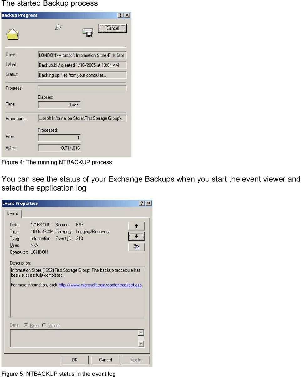 Exchange Backups when you start the event viewer and