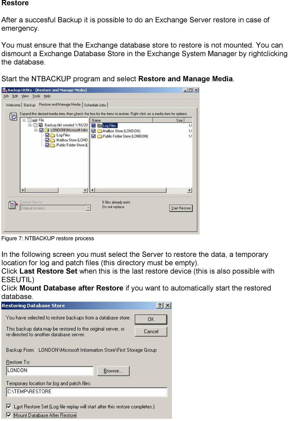 Figure 7: NTBACKUP restore process In the following screen you must select the Server to restore the data, a temporary location for log and patch files (this directory must be