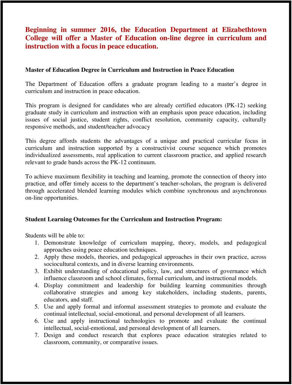 Master Of Education Degree In Curriculum And Instruction In Peace
