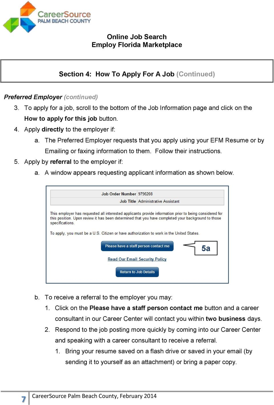 Online Job Search Employ Florida Marketplace  Section 1: How