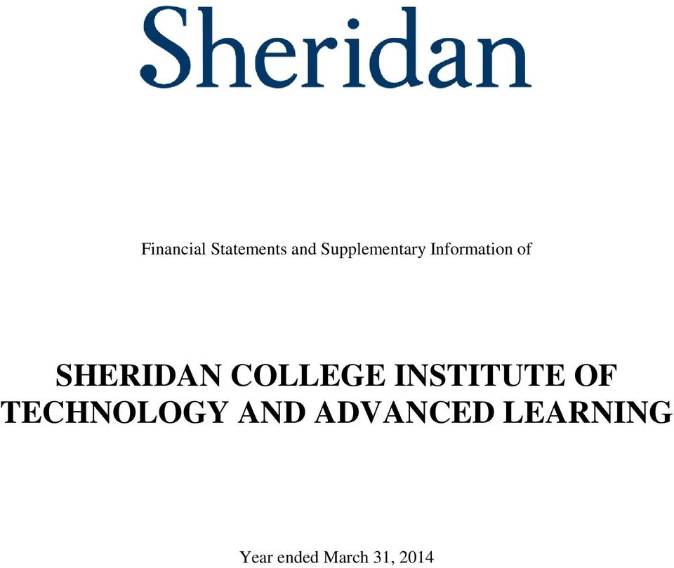of SHERIDAN COLLEGE
