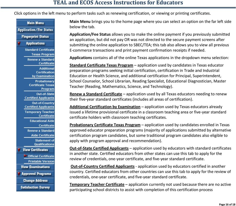 Teal And Ecos Access Instructions For Educators Pdf