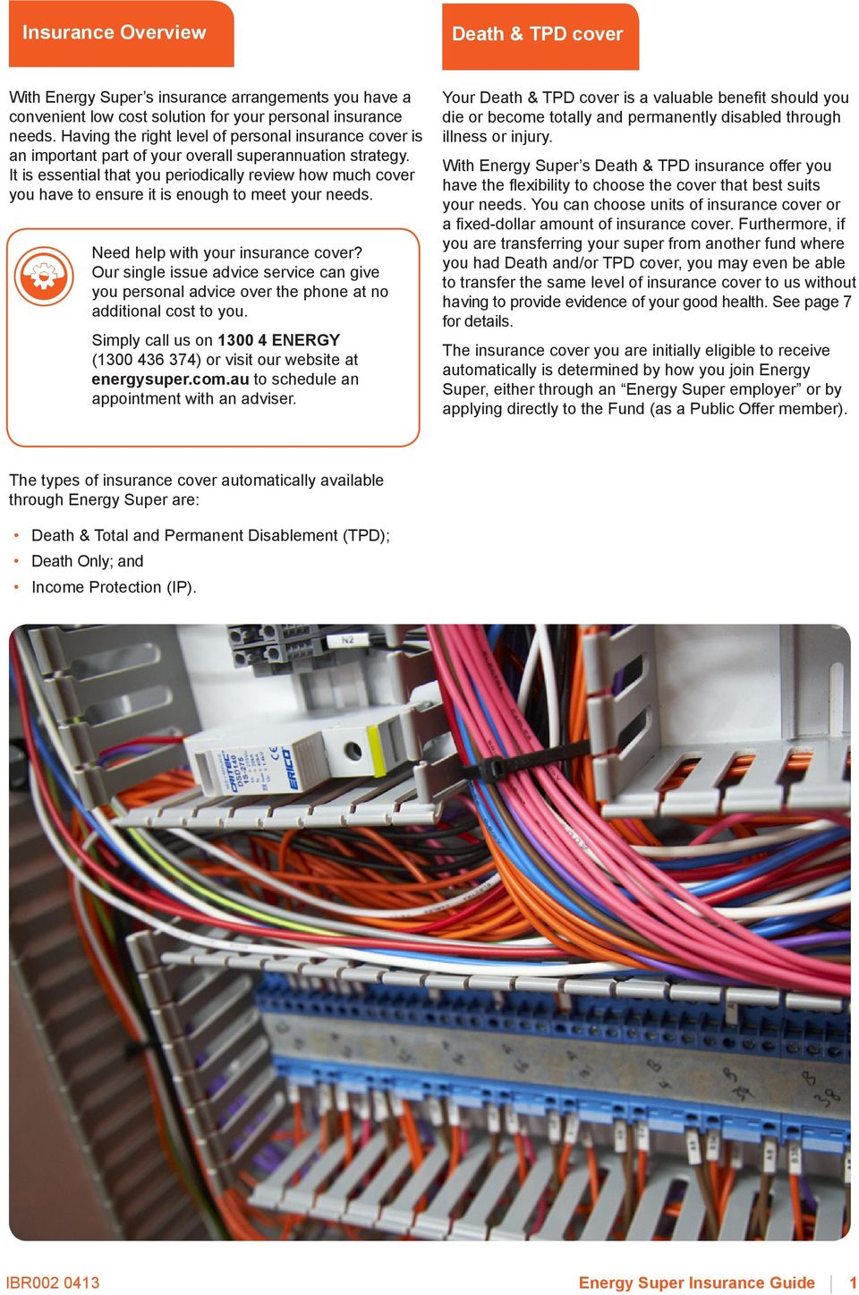 Energy Super Insurance Guide Prepared And Issued 30 April Pdf Electrical Wiring Covered By It Is Essential That You Periodically Review How Much Cover Have To Ensure