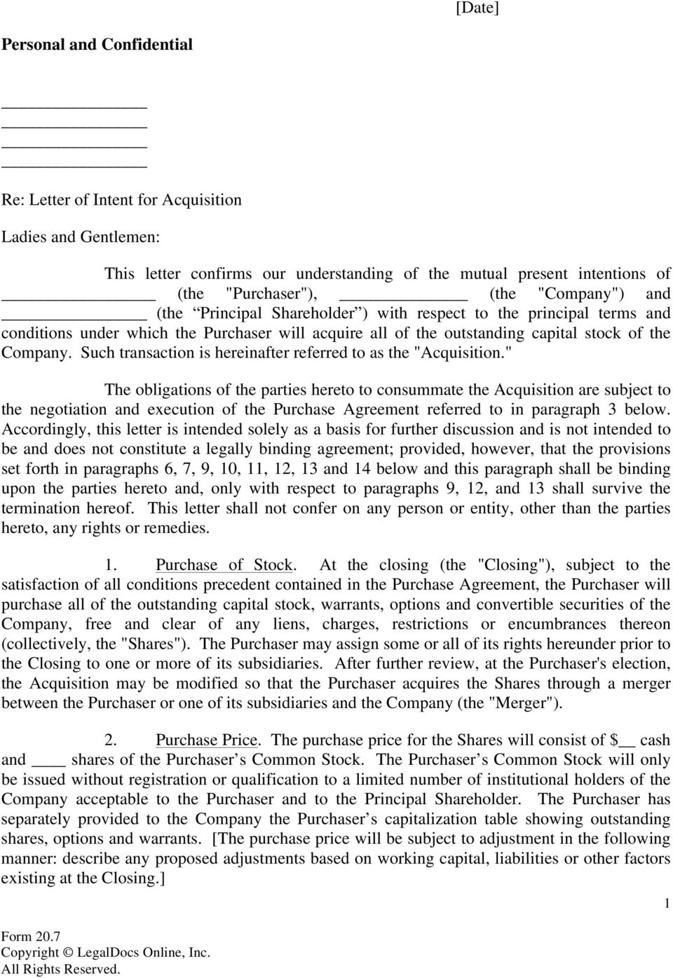 Letter Of Intent For Acquisition Purchase Of Stock Of The Business