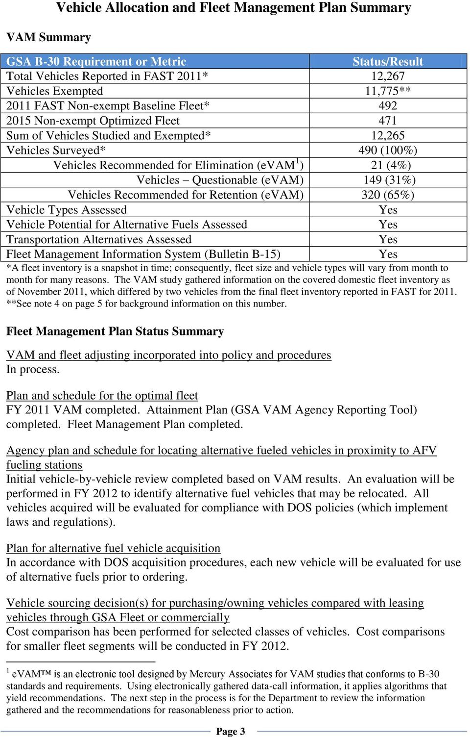 Vehicles Questionable (evam) 149 (31%) Vehicles Recommended for Retention (evam) 320 (65%) Vehicle Types Assessed Yes Vehicle Potential for Alternative Fuels Assessed Yes Transportation Alternatives