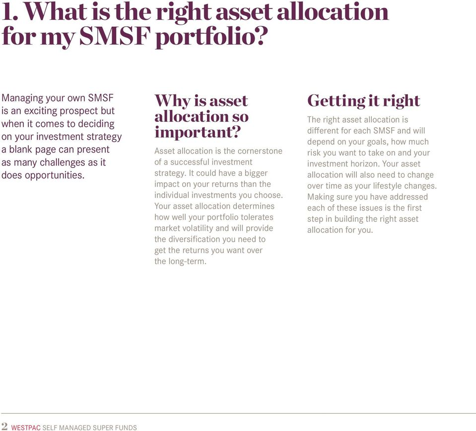 Why is asset allocation so important? Asset allocation is the cornerstone of a successful investment strategy. It could have a bigger impact on your returns than the individual investments you choose.