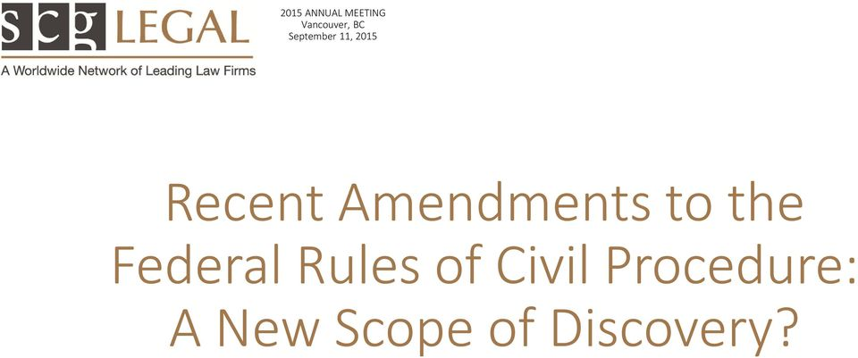 Amendments to the Federal Rules of