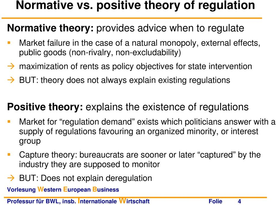 non-excludability) maximization of rents as policy objectives for state intervention BUT: theory does not always explain existing regulations Positive theory: explains the