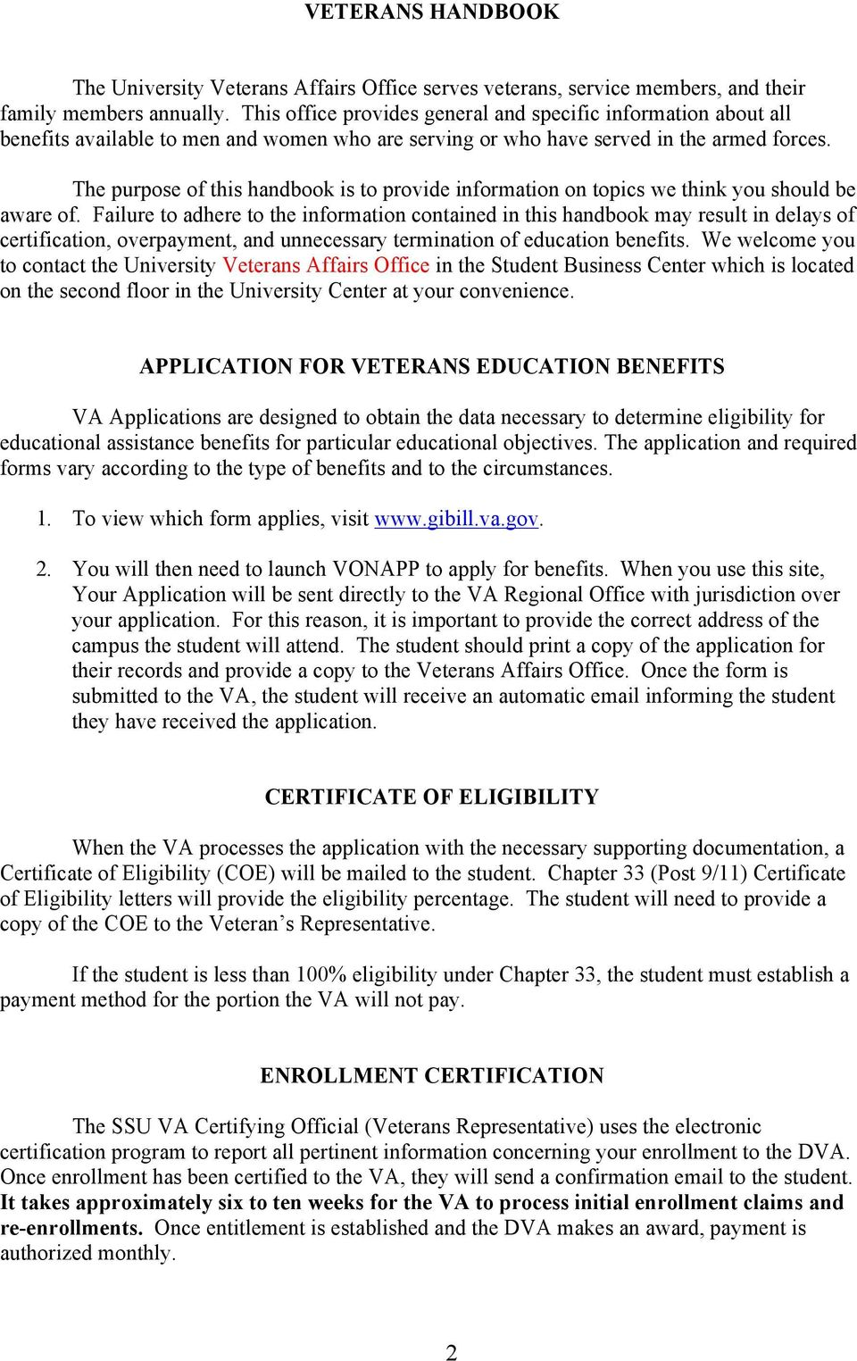 Application For Veterans Education Benefits 2 Certificate Of