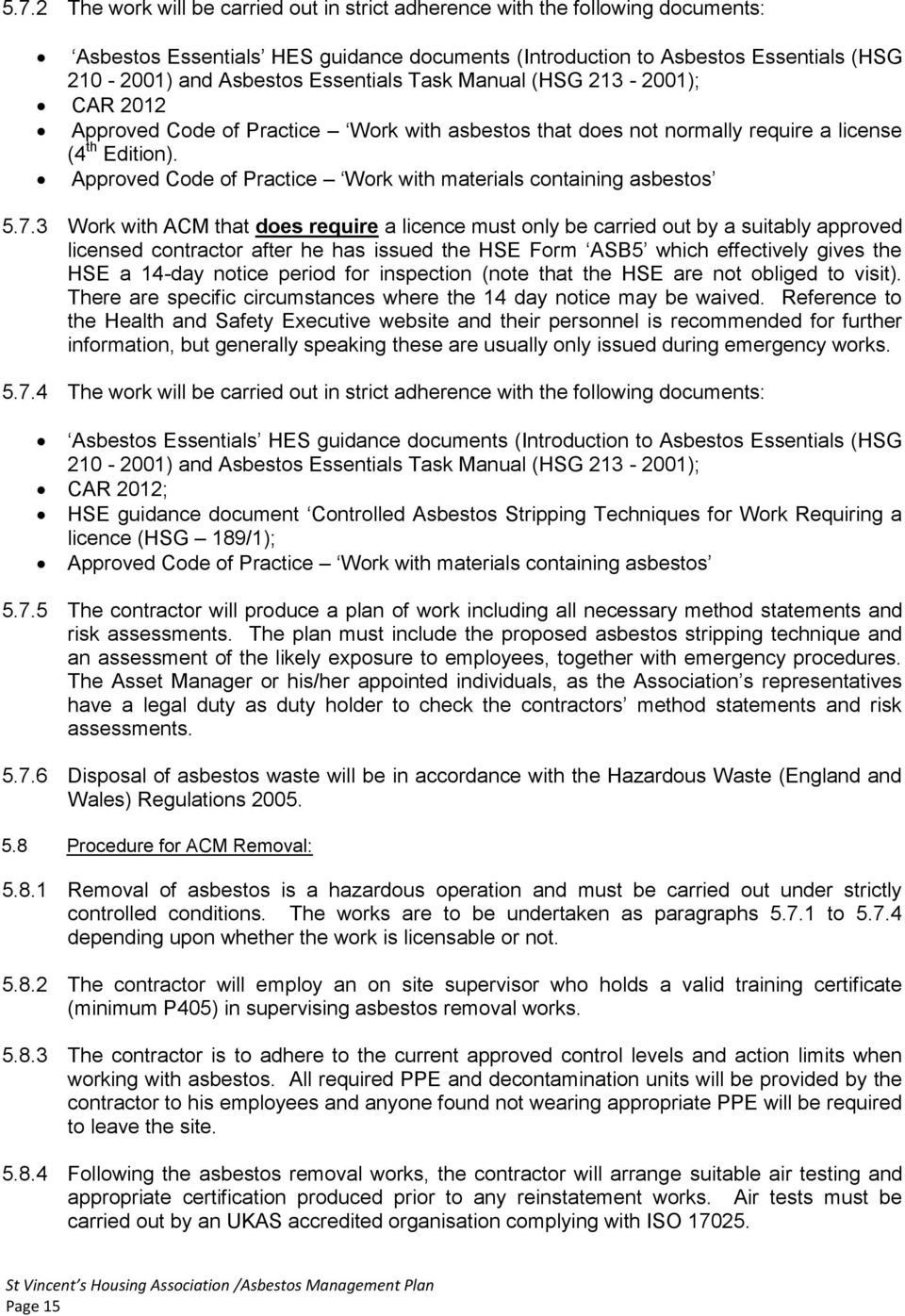 Approved Code of Practice Work with materials containing asbestos 5.7.