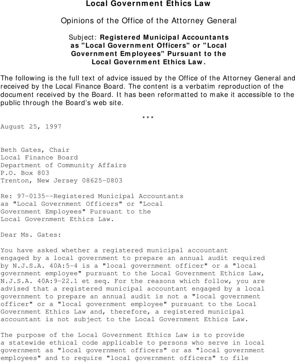 Local Government Ethics Law  Opinions of the Office of the