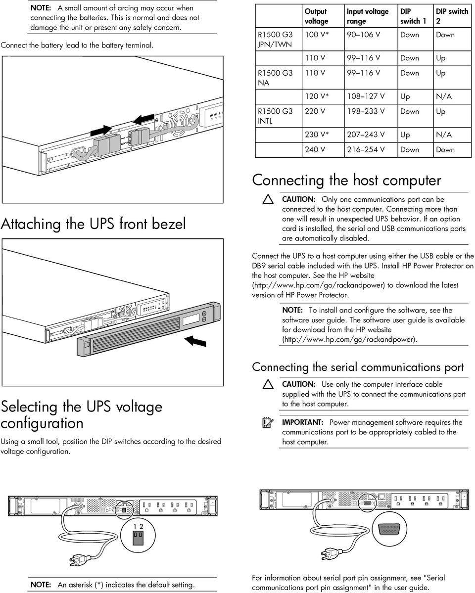220 V 198 233 V Down Up 230 V* 207 243 V Up N/A 240 V 216 254 V Down Down Connecting the host computer Attaching the UPS front bezel CAUTION: Only one communications port can be connected to the host