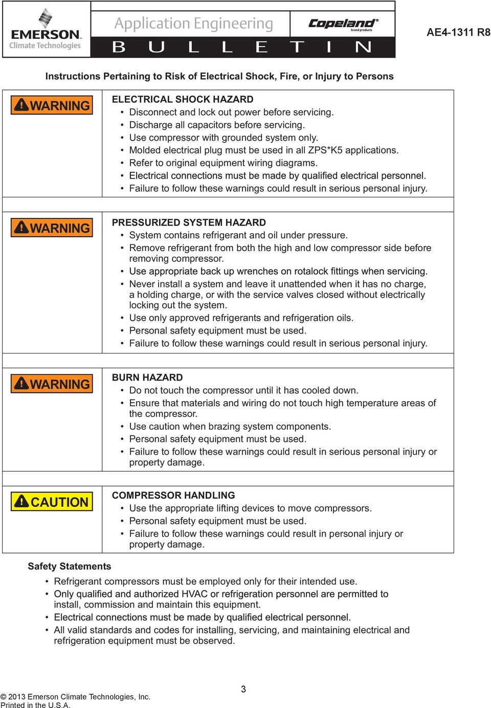 Application Engineering Pdf Refrigeration Solenoid Wiring Diagram Failure To Follow These Warnings Could Result In Serious Personal Injury Waning Pessuized System Hazad