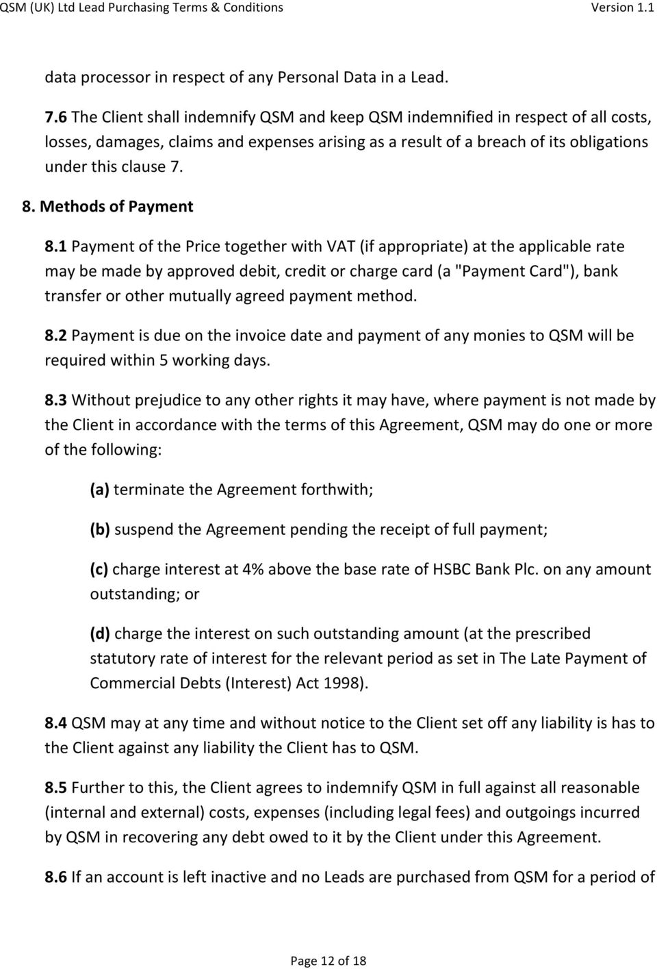 Methods of Payment 8.