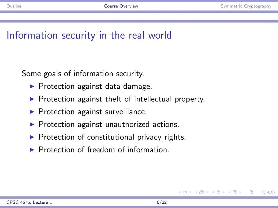 Protection against surveillance. Protection against unauthorized actions.