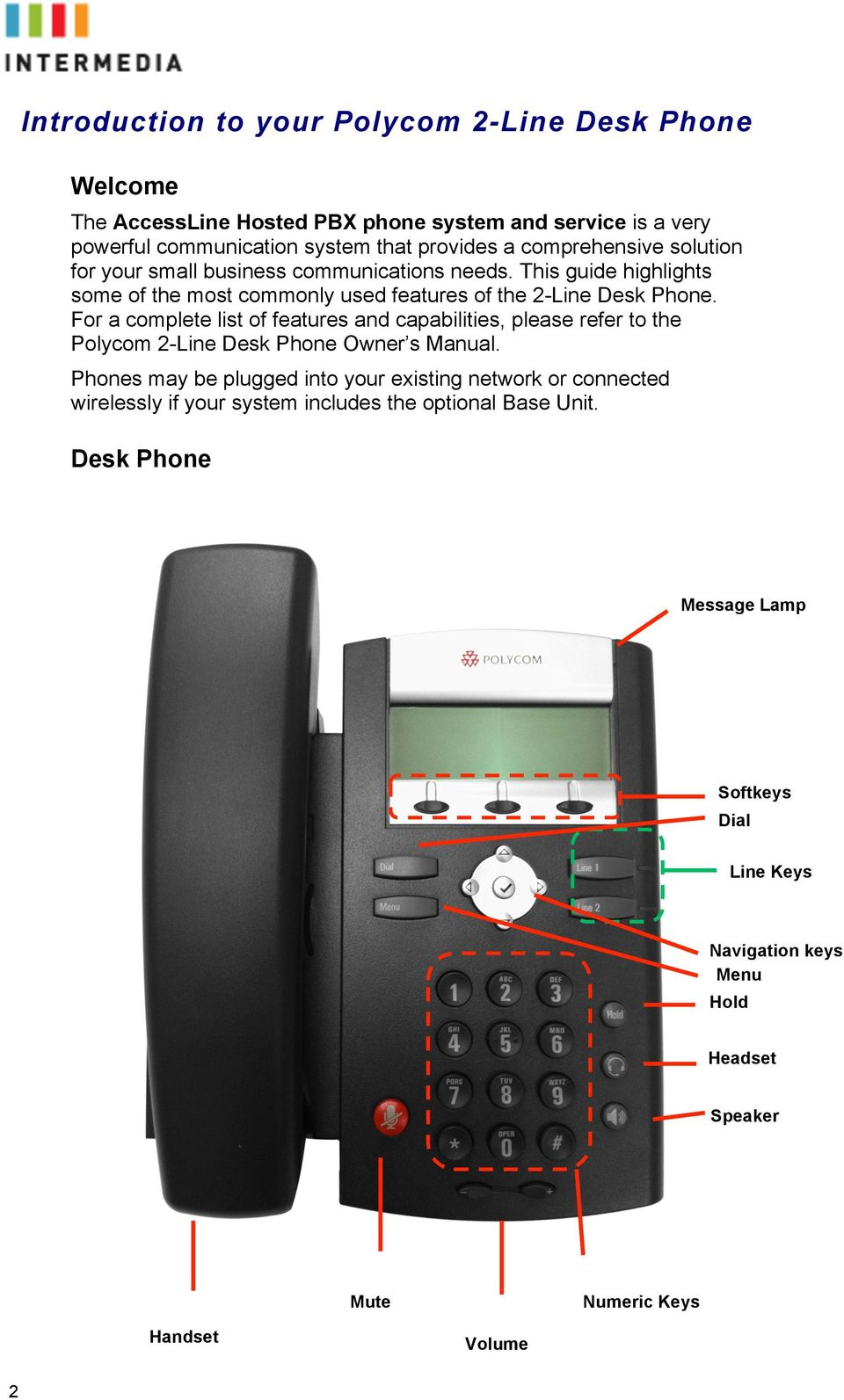 For a complete list of features and capabilities, please refer to the Polycom 2-Line Desk Phone Owner s Manual.