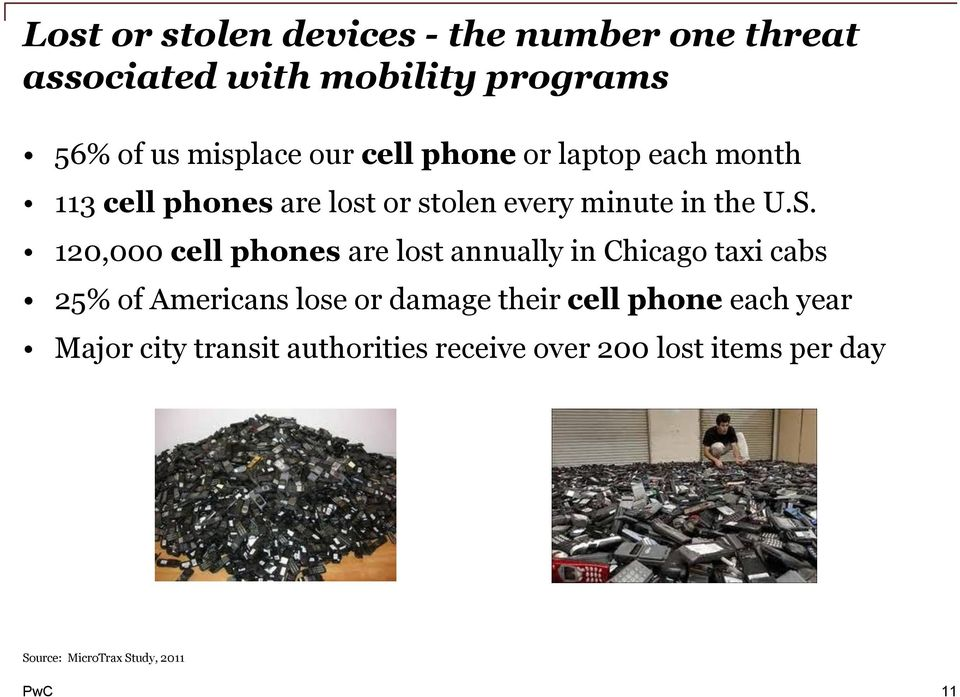 120,000 cell phones are lost annually in Chicago taxi cabs 25% of Americans lose or damage their cell