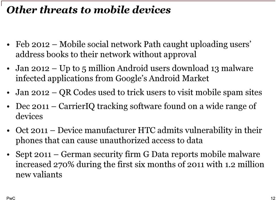 Dec 2011 CarrierIQ tracking software found on a wide range of devices Oct 2011 Device manufacturer HTC admits vulnerability in their phones that can cause