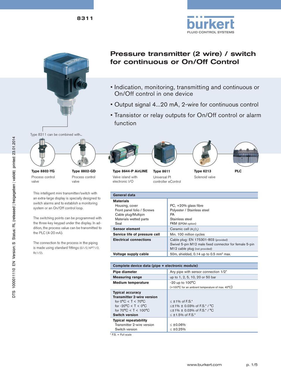 .. Type 8802-YG Type 8802-GD Type 8644-P AirLINE Type 8611 Type 6213 PLC Valve island with electronic I/O Universal PI controller econtrol Solenoid This intelligent mini transmitter/switch with an