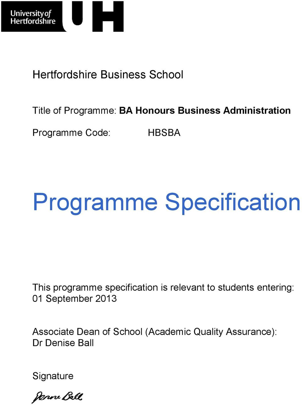 programme specification is relevant to students entering: 01 September