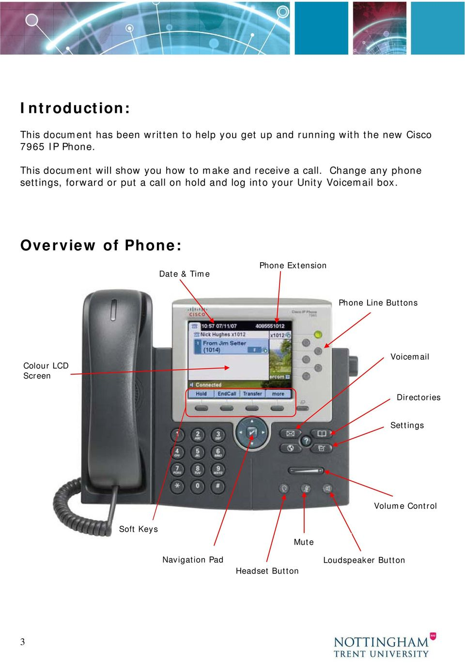 Information Systems Cisco 7965 IP Phone Quick Reference