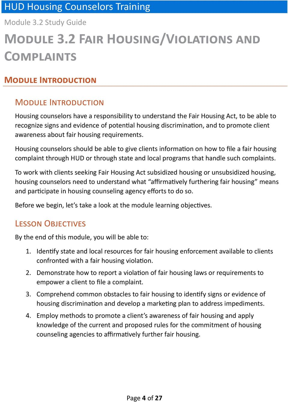 HUD Housing Counselors Training - PDF