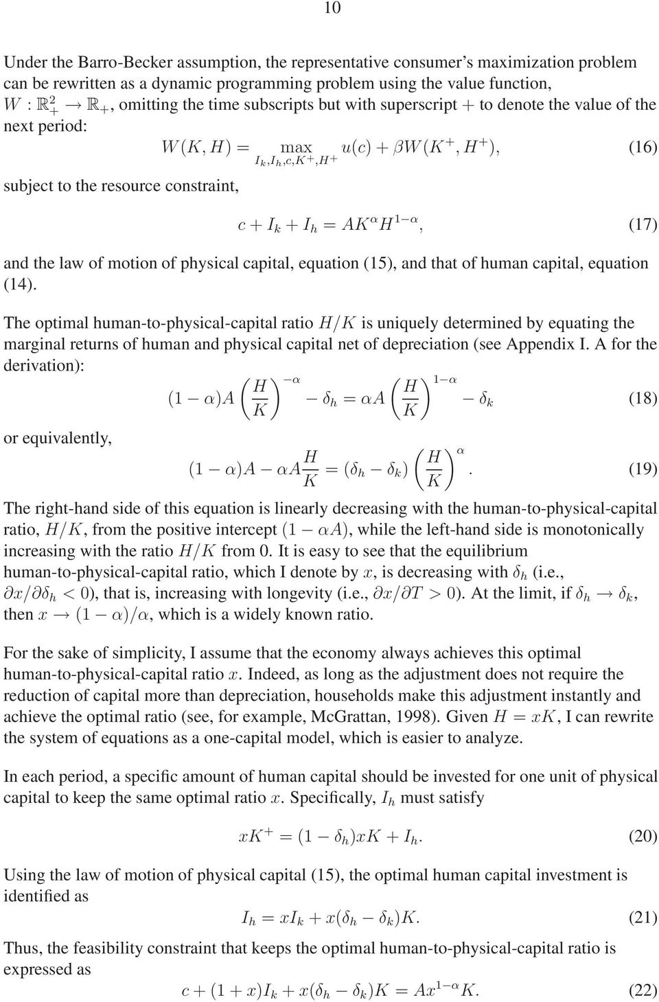 (17) and the law of motion of physical capital, equation (15), and that of human capital, equation (14).