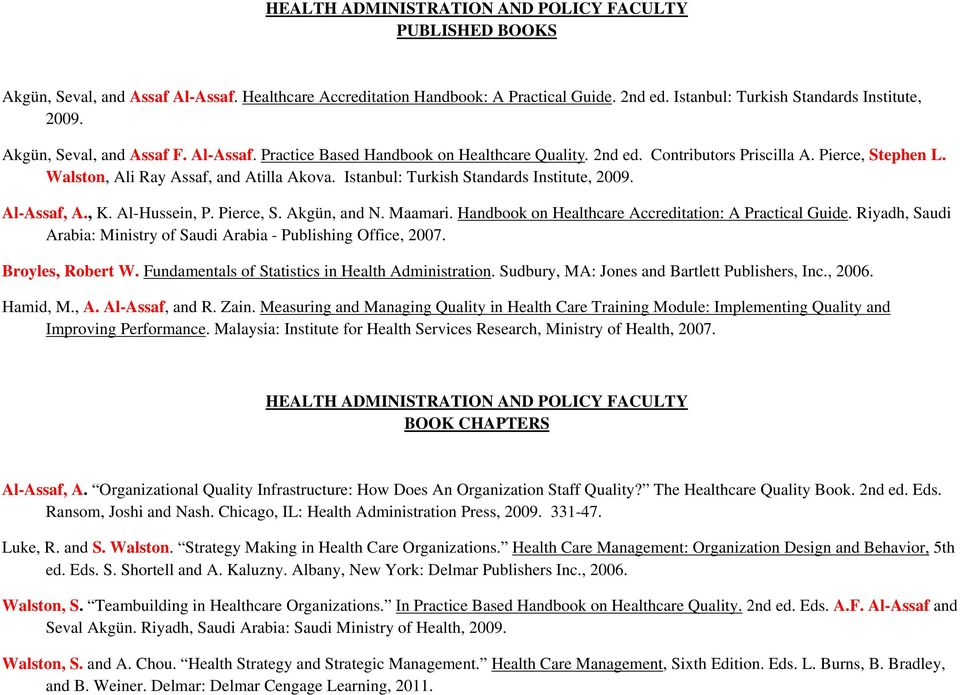 Health Administration And Policy Faculty Published Books Pdf Free Download