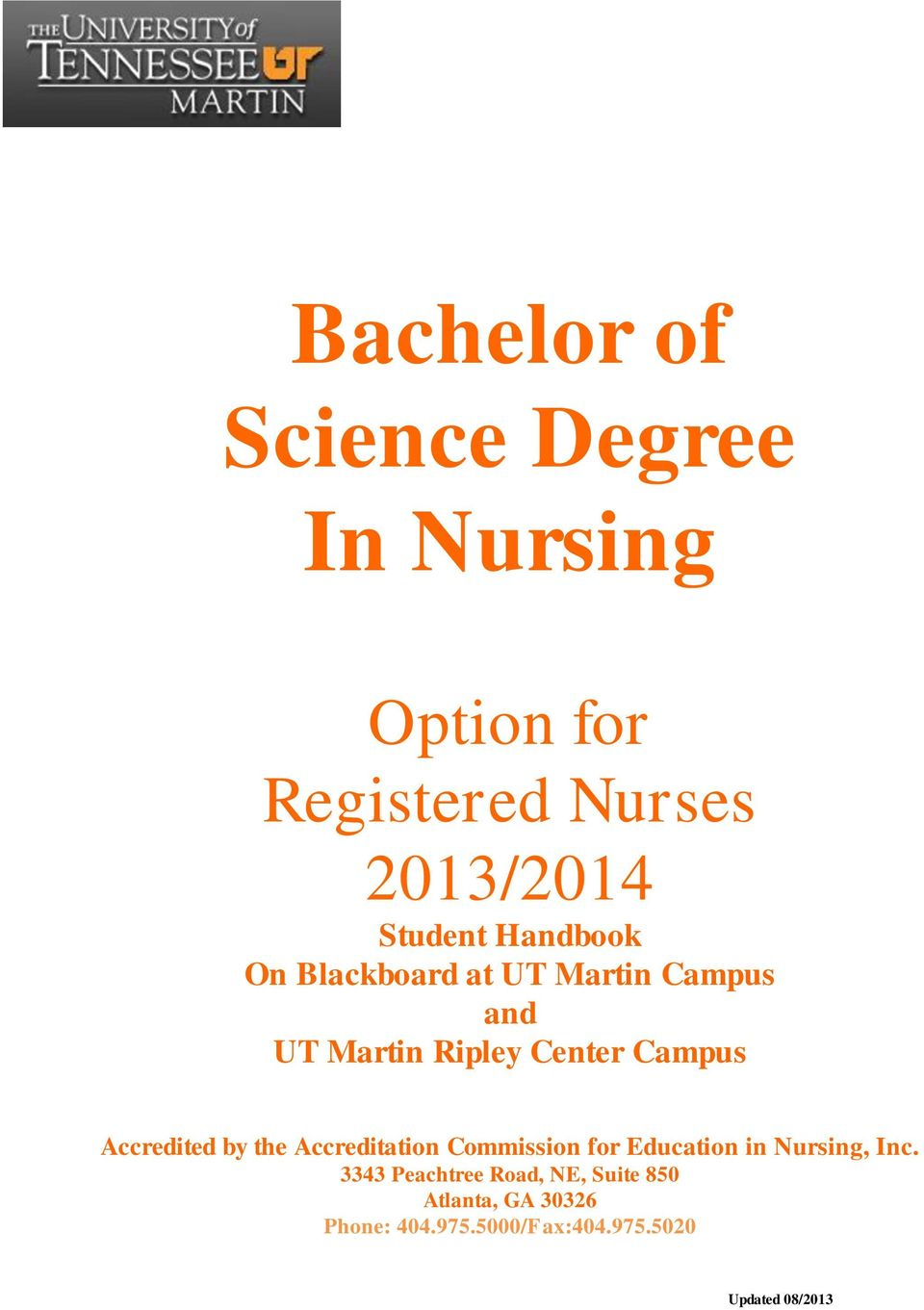 Accredited by the Accreditation Commission for Education in Nursing, Inc.