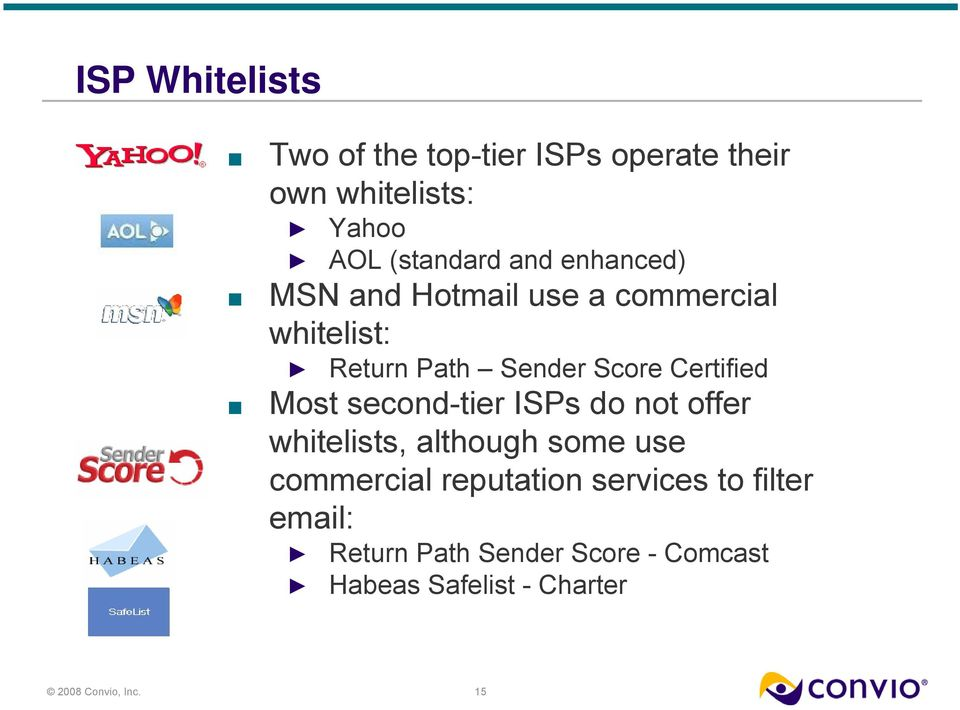 Certified Most second-tier ISPs do not offer whitelists, although some use commercial