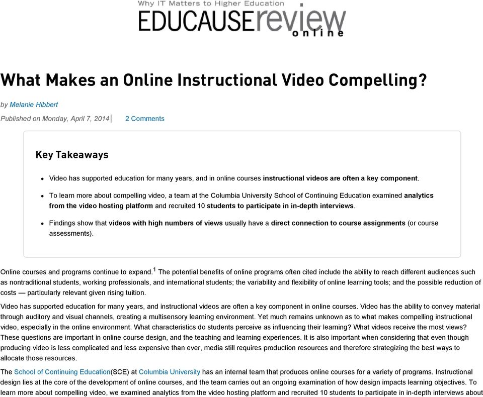 What Makes An Online Instructional Video Compelling Pdf