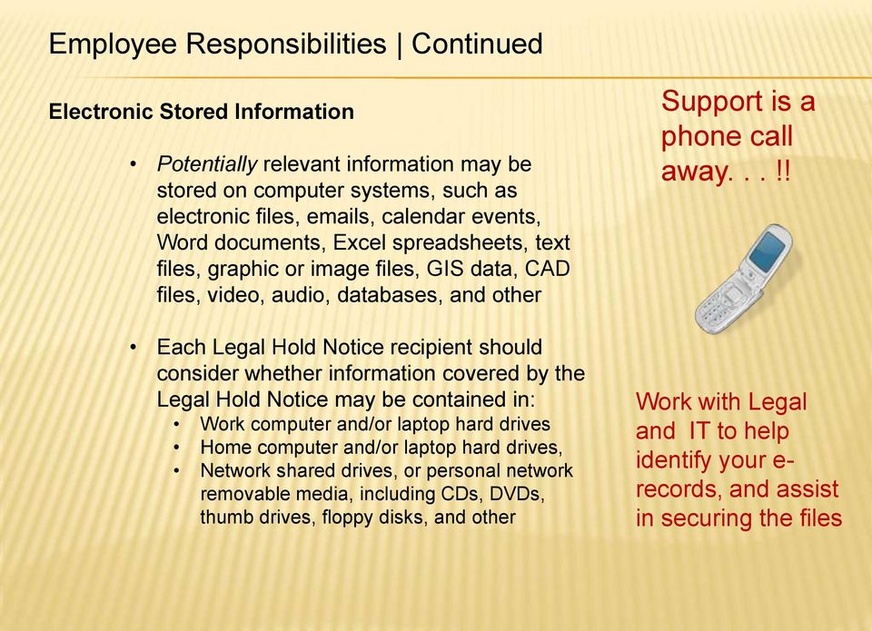 information covered by the Legal Hold Notice may be contained in: Work computer and/or laptop hard drives Home computer and/or laptop hard drives, Network shared drives, or personal network