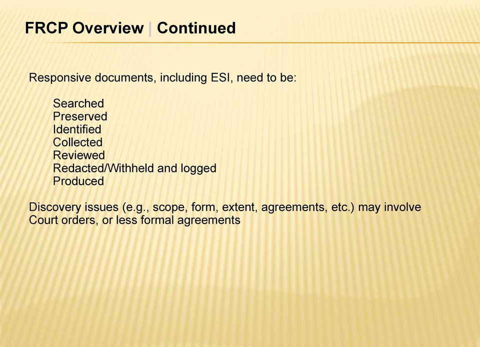 Redacted/Withheld and logged Produced Discovery issues (e.g., scope, form, extent, agreements, etc.