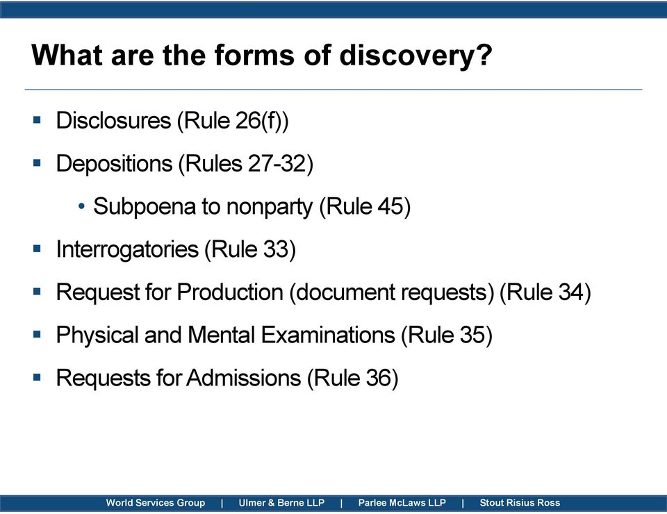 nonparty (Rule 45) Interrogatories (Rule 33) Request for Production