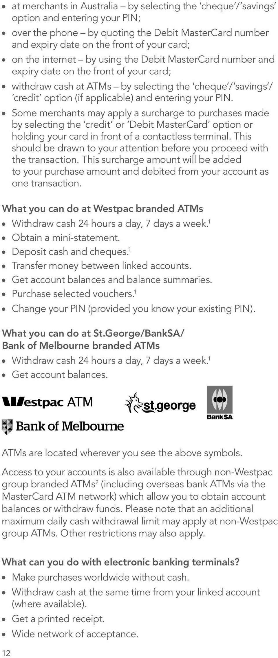 Westpac Debit MasterCard  Terms and Conditions for Personal