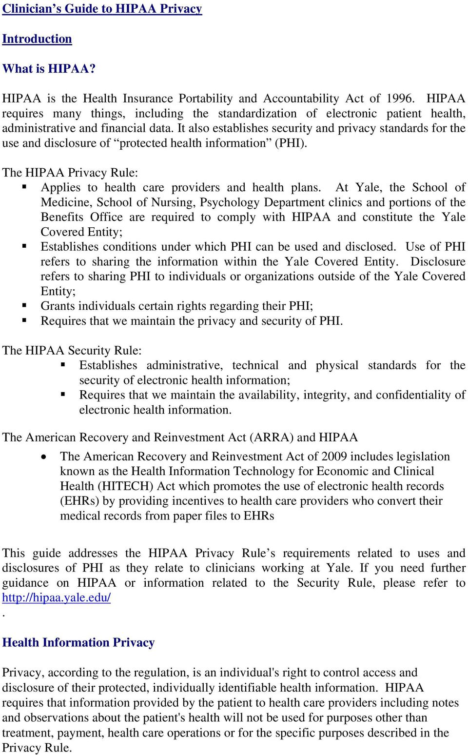 Clinician s Guide to HIPAA Privacy  I  Introduction What is
