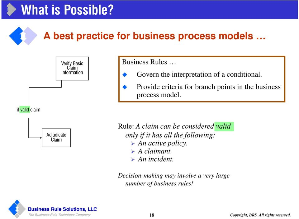 conditional. Provide criteria for branch points in the business process model.