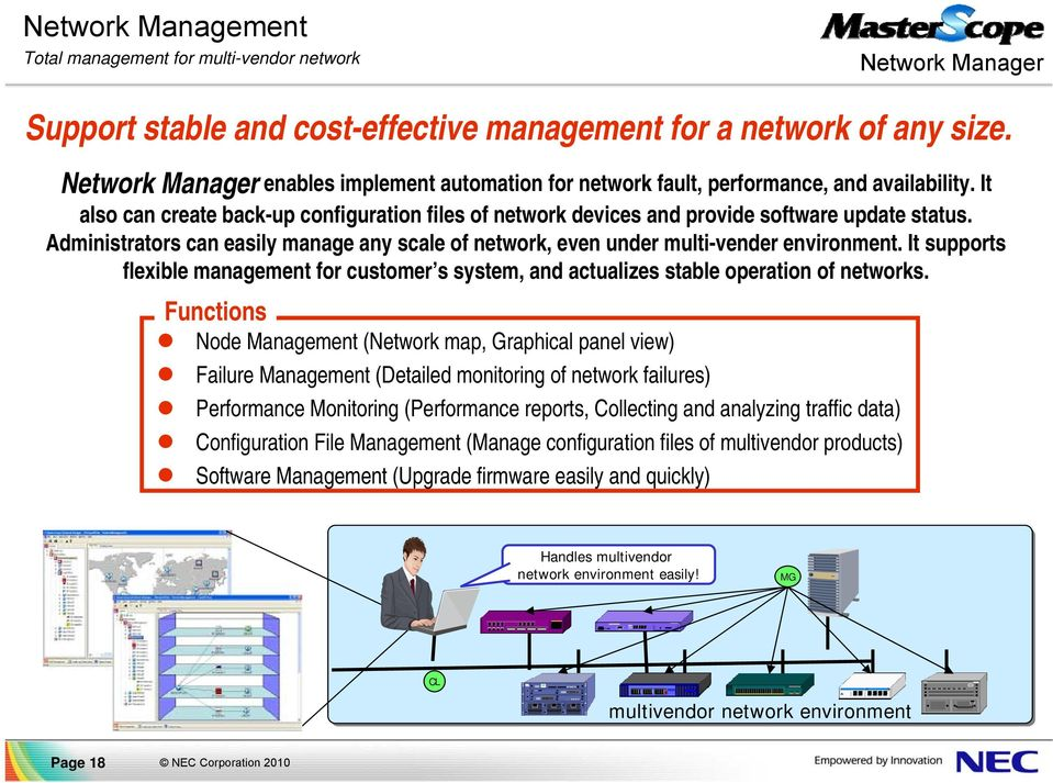Administrators can easily manage any scale of network, even under multi-vender environment. It supports flexible management for customer s system, and actualizes stable operation of networks.