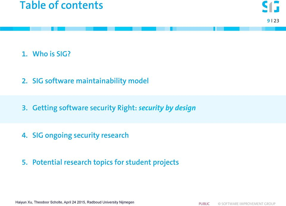 SIG software maintainability model 3.
