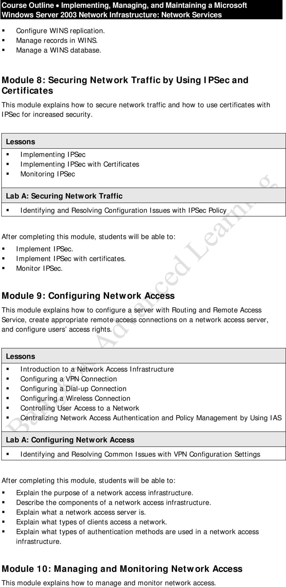 Implementing IPSec Implementing IPSec with Certificates Monitoring IPSec Lab A: Securing Network Traffic Identifying and Resolving Configuration Issues with IPSec Policy Implement IPSec.