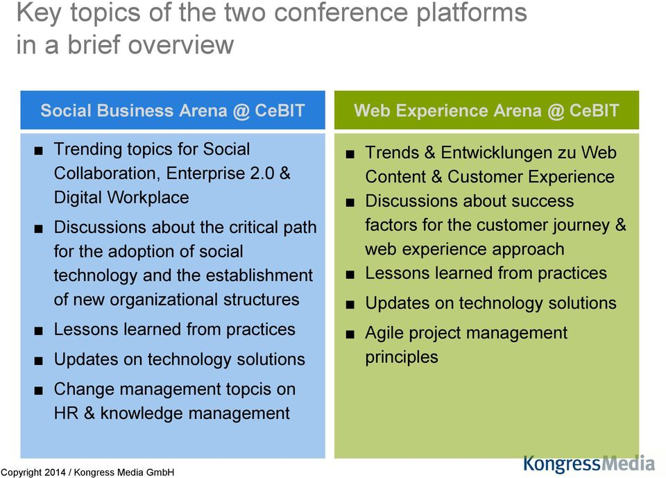 practices Updates on technology solutions Change management topcis on HR & knowledge management Web Experience Arena @ CeBIT Trends & Entwicklungen zu Web Content &