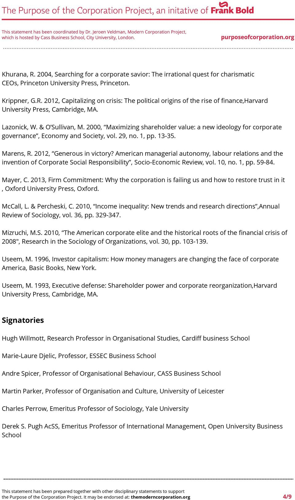 American managerial autonomy, labour relations and the invention of Corporate Social Responsibility, Socio-Economic Review, vol. 10, no. 1, pp. 59-84. Mayer, C.