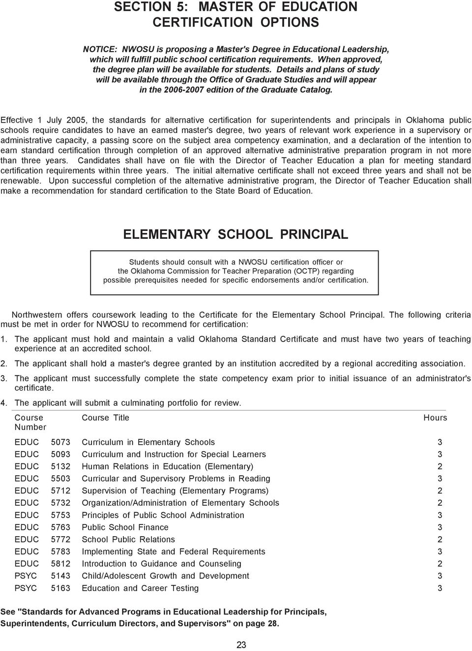 Section 5 Master Of Education Certification Options Elementary